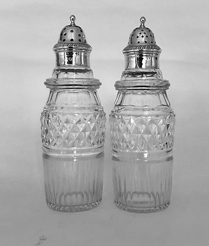 Decanters, Jugs & Carafes. pair Georgian silver topped cruets