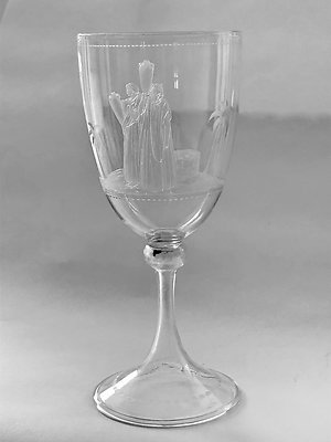 Decorative & Coloured Glass. goblet engraved water carriers